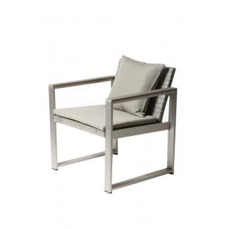 Barnes Silla de comedor de aluminio tapizada impecablemente cómoda para patio con cojín