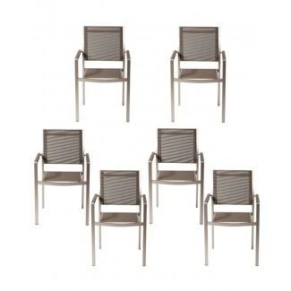Silla de comedor de patio con marco de aluminio Layton (juego de 6)