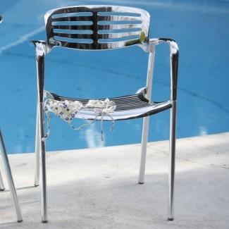 Addisy n Silla de comedor apilable para patio (juego de 4)