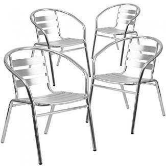 Silla apilable de aluminio para muebles comerciales de interior y exterior para restaurante con respaldo y brazos de triple listón