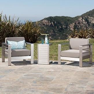 Christopher Knight Home 300476 Crested Bay Sillas de patio de aluminio para exteriores con mesa auxiliar (juego de chat) (caqui / plata)