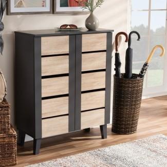 2 -Puerta de entrada de madera, 8 pares, gabinete de almacenamiento de calzado