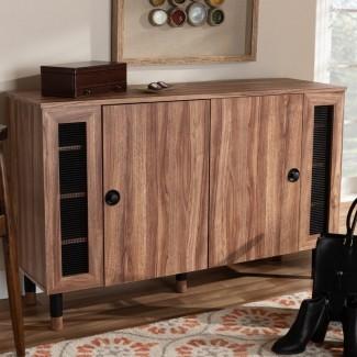 Moderno y contemporáneo 2 puertas de entrada de madera Gabinete de almacenamiento de zapatos de 16 pares