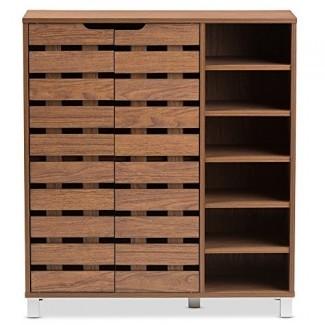 Baxton Studio Eloise Zapatero de 2 puertas moderno y contemporáneo de madera de haya con estantes abiertos, nogal