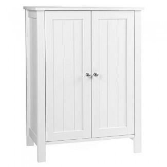 """VASAGLE UBCB60W Gabinete de almacenamiento en el piso del baño con estante ajustable de doble puerta, 23.6 """"L x 11.8"""" W x 31.5 """"H Blanco"""