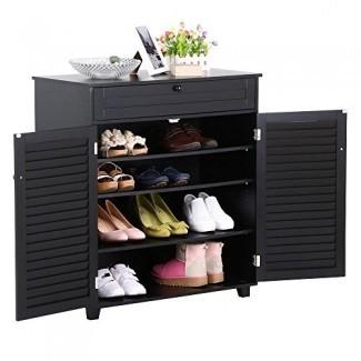 Yaheetech 3 estantes Gabinete de zapatos Oficina Stora ge Gabinete con 1 cajón 2 puertas negro