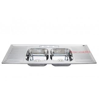 Fregadero de cocina doble de acero inoxidable con escurridor - Wow Blog