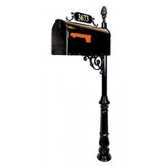 Direcciones de Distinction Charleston Large Mailbox & Post System - Buzón negro resistente a la corrosión - Incluye placa de dirección, herramientas de desplazamiento y montaje - Buzón de metal con acabado de piña
