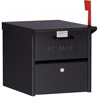 Buzón negro con cerradura en la acera Caja de correo de EE. UU. Protección segura Bloqueo seguro Retro, robusto