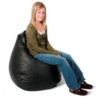 Vinyl Dorm Bag Bean Chair, negro -