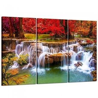 Kreative Arts Canvas Print grande para sala de estar Decoración Estirada 3 piezas Verde Cascada de ensueño Pintura Arte de la pared Imagen impresa en lienzo Decoración moderna para el hogar de alta definición 16x32inchx3pcs