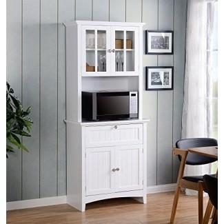 American Furniture Classics OS Buffet y aparador para el hogar y la oficina con puertas y cajones de vidrio enmarcado, grande, blanco
