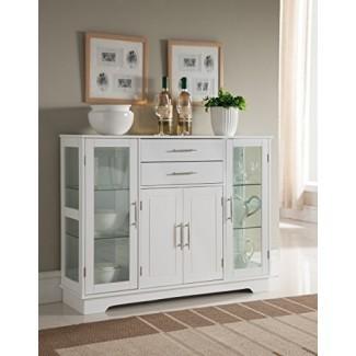 Kings Brand Furniture VD-60366HW Bufete de cocina con puertas de vidrio, blanco,