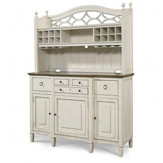 Buffet de cocina blanca de madera de arce Country-Chic con barra ...