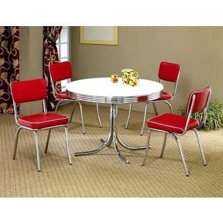 Juego de mesa de comedor redonda blanca retro de 5 piezas y 4 sillas rojas