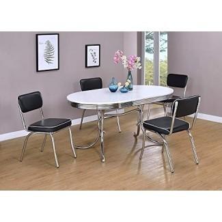 Mesa de comedor ovalada retro blanca y cromada