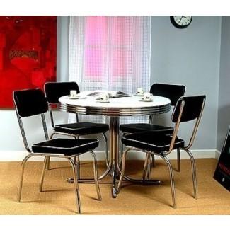 Mesa de cromo redondo retro y 4 sillas negras Cocina de los años 50