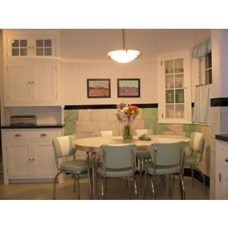 Mesa de cocina retro: sillas, blanco, aspecto vintage, ahorro de espacio