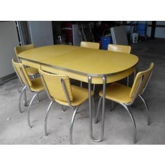 Mesa de formica amarilla en diseño vintage | Seeur