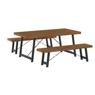 Christopher Knight Home 303372 Blane Farmhouse Cottage Juego de mesa y banco de 3 piezas de madera de caucho, nogal natural + negro texturizado