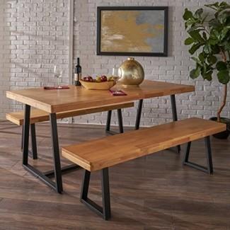 Jacob Farmhouse Cottage 3 piezas Natur Juego de mesa y banco de madera de caucho con acabado de roble al