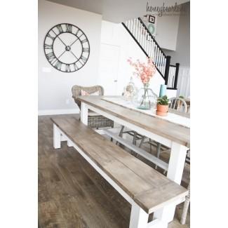 Mesa y banco de granja DIY - Honeybear Lane