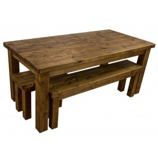 Tortuga Rustic mesa de comedor de madera de granja 6x3 con 2 ...
