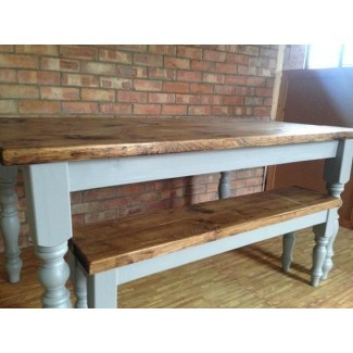 Mesa de comedor de granja hecha a mano con banco