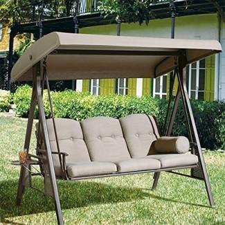 Columpio de porche exterior Rohrbaugh de 3 asientos con soporte