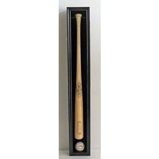 Base de exhibición de bate de béisbol Gabinete de montaje en pared, puerta de protección UV con cerradura, acabado negro (B001VH-BL)