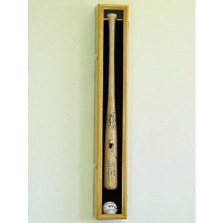 1 soporte de gabinete de bastidor de exhibición de bate de béisbol con protección UV Bloqueo verítico y horizontal con cerradura - Roble