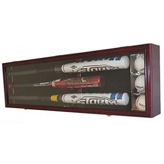 Vitrina de bate de béisbol Pro Uv Caja de sombra del gabinete de pared con capacidad para 3 murciélagos