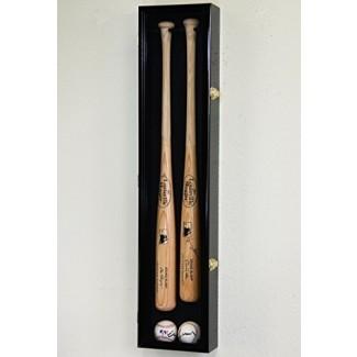 Estante de soporte para montaje en pared de gabinete con pantalla de béisbol y bate