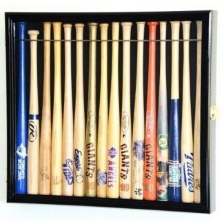 """estante pequeño del gabinete del mini gabinete de exhibición del mini bate de béisbol de 18 """"con 98% de bloqueo UV con capacidad para hasta 16 murciélagos"""