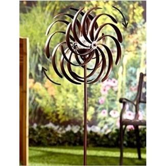 Tienda Premium de EE. UU. Resistente a la intemperie Doble espiral iluminada con energía solar Jardín Wind Spinner Yard Art Decor