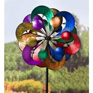 Plough & Hearth Outdoor 4 Tier Metal Garden Wind Spinner Sculpture, 2 ft Diam. x 7 pies de alto