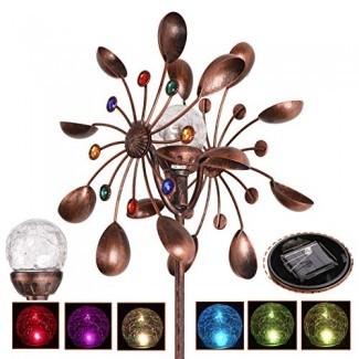 ZENY Solar Wind Spinner Iluminación LED multicolor por Solar Powered Ball de vidrio con cinética Wind Aculptures Dual Direction Césped decorativo adorno molino de viento