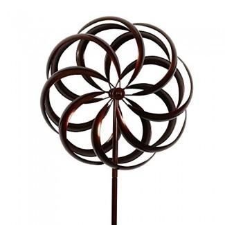 Giratoria cinética para jardín de flores estilo bronce