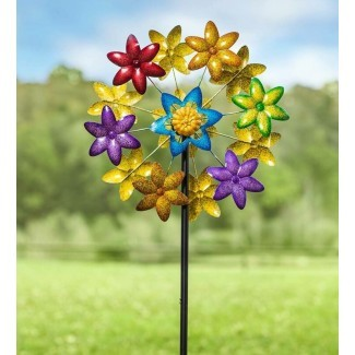 Spinner de viento de jardín de flores de metal