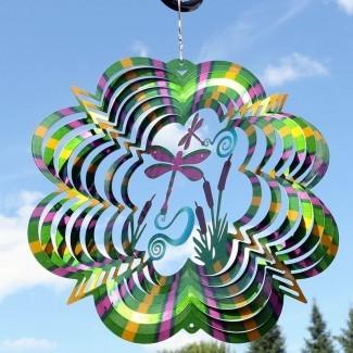 Carreiro Reflexivo 3D Spinner de viento libélula girando
