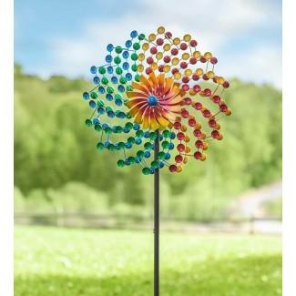 Spinner de viento de jardín de metal Rainbow Cups