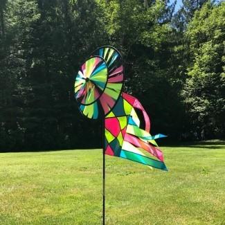 Spinner de viento de doble rueda con rotador de bandera