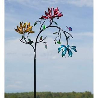 Jardín de hoja perenne Hipnótico cinético de metal floral floral del jardín - Tamaño para hacer ¡una declaración! 91 pulgadas