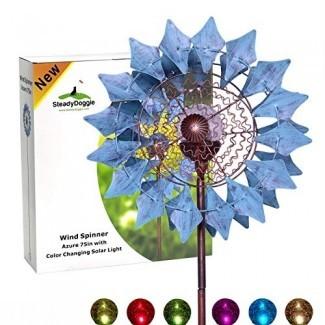 Spinner de viento solar SteadyDoggie Sports & Outdoors Nuevo Azure 75in Iluminación LED estacional multicolor Multicolor Bola de vidrio con energía solar con Spinner de viento cinético de doble dirección para Patio Lawn & Garden