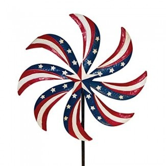 "Briarwood Lane Patriótico Molinillo de viento Metal Spinner Wind USA Estaca 20 ""x 63"""