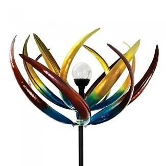 La bola de cristal solar multicolor original Spinner Wind Spinner-Solar emite luz que cambia de color - Hecho de metal y acero