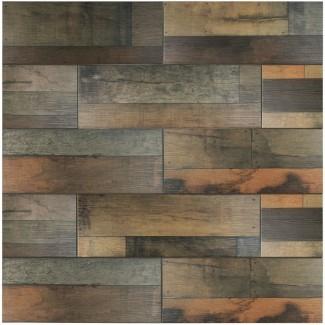 """Lena 7.88 """"x 23.63"""" Azulejo de madera de cerámica en mezcla"""