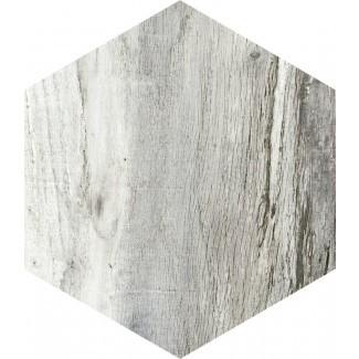 "Docklight Hexagon 9,5 ""x 11"" Azulejo de madera de porcelana en Urraca"