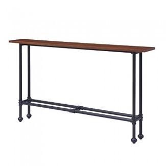 Furniture HotSpot - Mesa de sofá delgada Mesa de consola delgada - Marrón oscuro con marco de metal negro