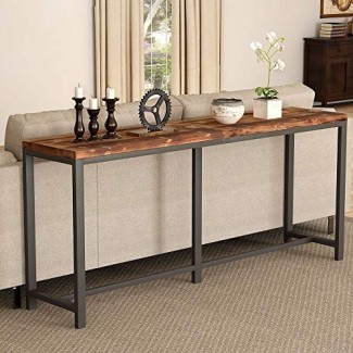 Tribesigns - Mesa consola rústica de madera maciza, detrás del sofá cama, mesa de pasillo de entrada estrecha extra larga de 70,9 pulgadas para sala de estar, espacio pequeño